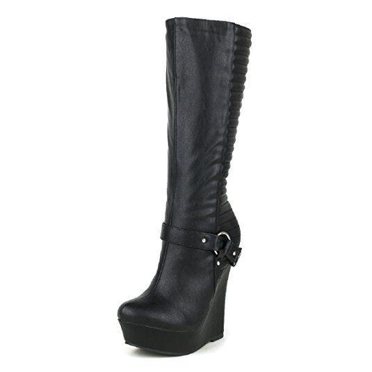 Mujer Plataformas Altas Tacón con plataforma la rodilla botas altas Mitad de Pantorrilla Cadena de Metal Hebilla de zapato