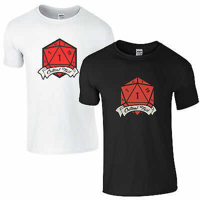 Critical Fail T-Shirt - D&D Dice Dungeons and Dragons D20 Master DM Gift Men Top