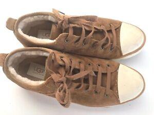 UGG-AUSTRALIA-EVERA-1888-Brown-Suede-Shearling-Lining-Tennis-Sneaker-Women-039-s-9-5