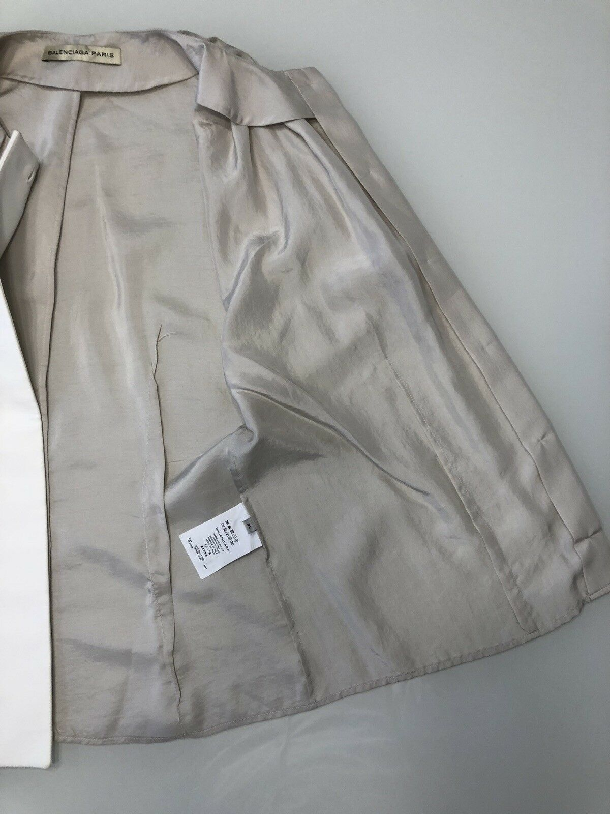 Balenciaga Silk Blouse Top Taupe Cap Sleeves Size… - image 5