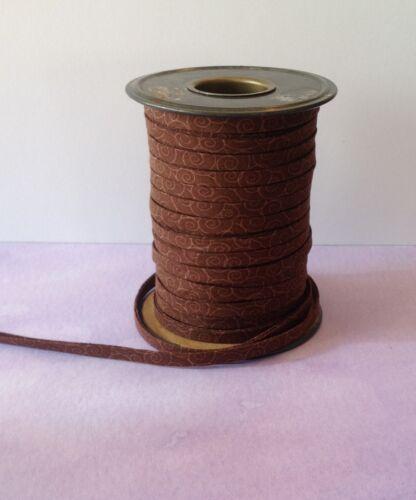 "Handmade 1//4/"" Double Fold Bias Tape *Brown with swirls* 1 yard"
