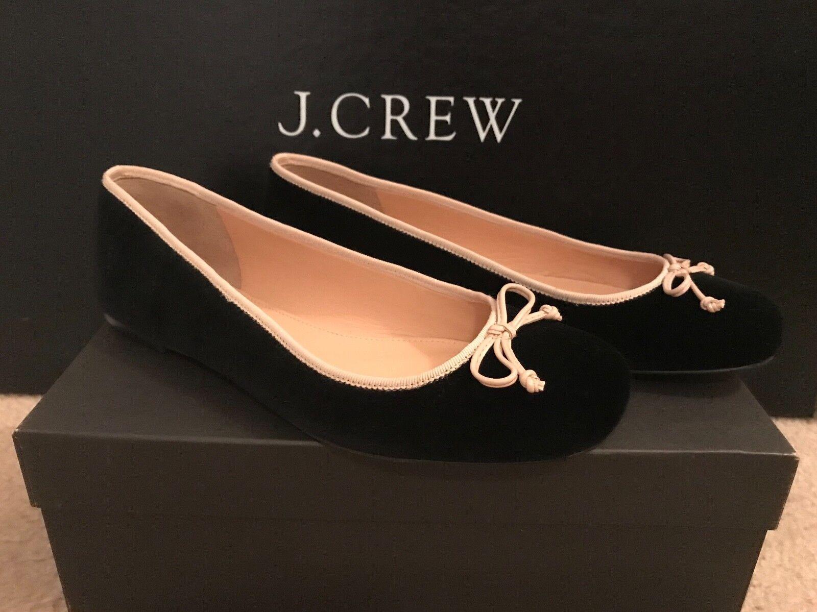 J.CREW LILY BALLET FLATS IN VELVET SIZE 9,5M BLACK H1818