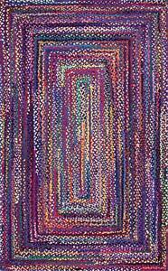 Rug Rectangle Shape Braided Handmade Multicolored Area For Home Rag Rug 2X8 Feet