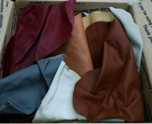 3 lbs Bulk Scrap Leather Trimmings 1 to 4 oz Cowhide Remnants Upholstery Craft