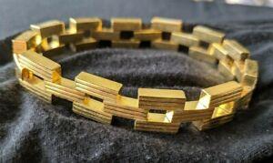 Square-Chain-Link-Gold-Tone-Bracelet-Geometric-Textured-Flat-Vintage-1970-039-s-NOS