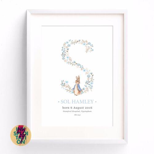 Personalised Peter Rabbit Beatrix Potter Print Nursery Christening New Baby