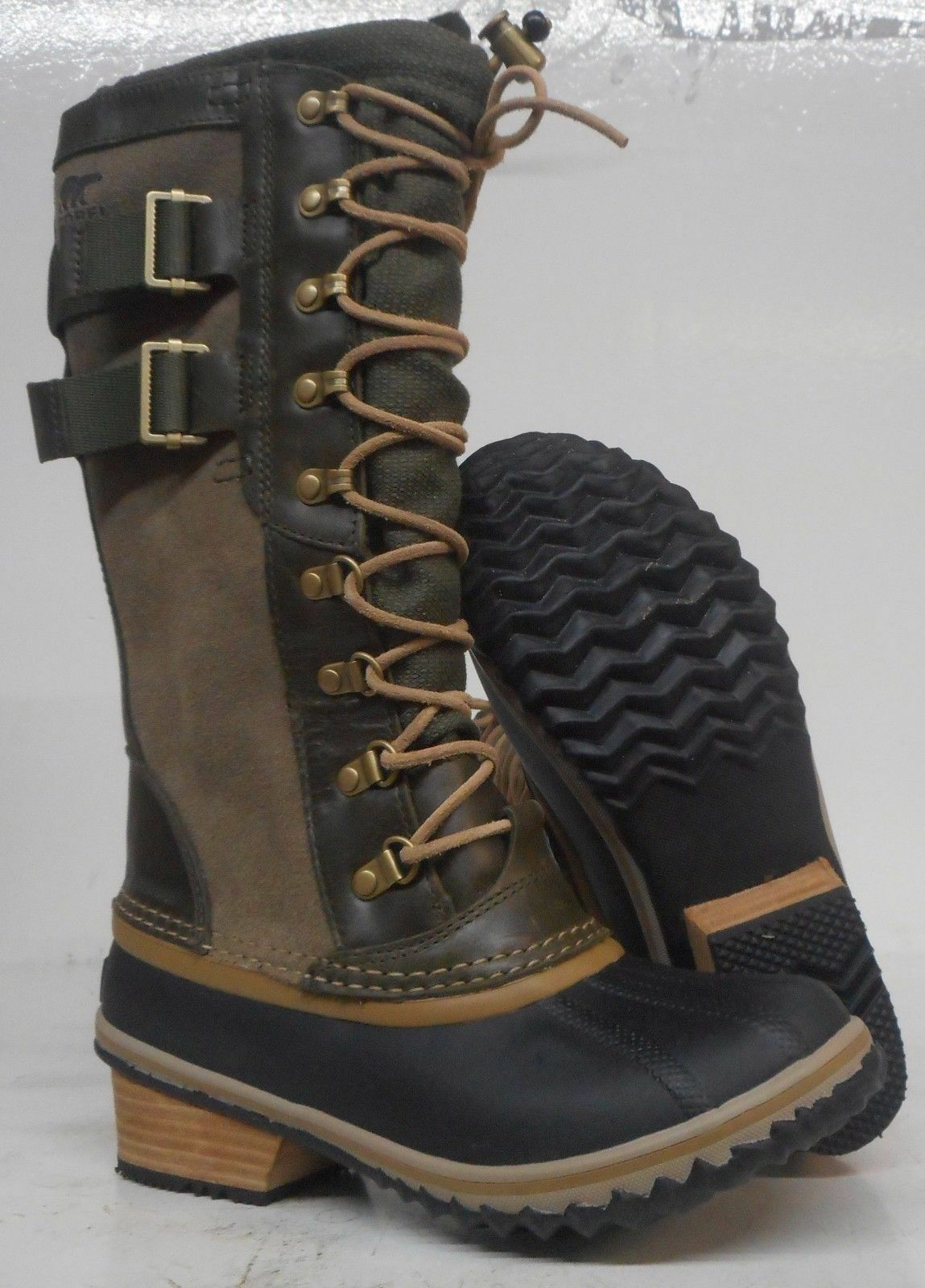 Sorel Donna Conquest Carly II Snow Boot 5.5 Waterproof Peatmoss Glare Waterproof 5.5 Pelle 217c56