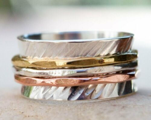 Solid 925 Sterling Silver Brass Copper Spinner Ring Hammered Jewelry sf1219
