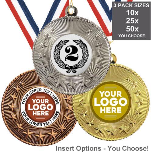 pack de 10 rubans 2nd Place métal médailles 50 mm insère ou propre Logo /& Texte