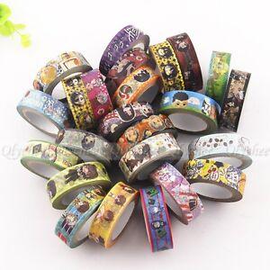 Japanese Anime Cartoon Paper Maksing Washi Tape DIY Scrapbook Stickers Wholesale