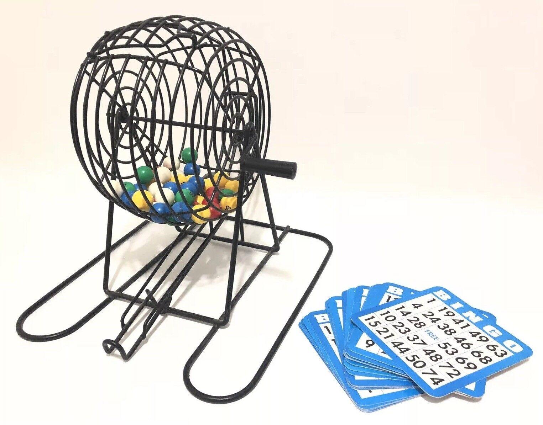 Vtg Bingo Spinner Tumbler Cage Colorosso Balls & Drop Chute Cards Missing Balls