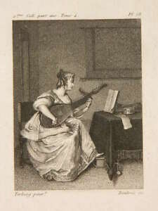 Incisione Una Giovane Donna che Suona Di La Mandolino Dopo Terburg Da Boutrois