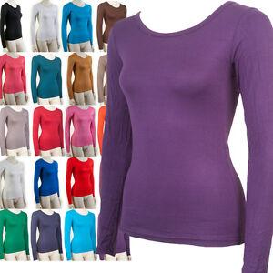 basic langarmshirt t shirt shirt langarm damen ladies in s l verschiedene farben ebay. Black Bedroom Furniture Sets. Home Design Ideas