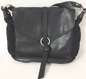 1bfbe132d1 Nanette Lepore NWT  298 Aspen 111 Black Leather   Suede Crossbody ...