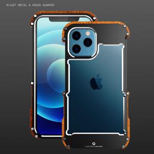 Echt-Holz-amp-Metall-Rahmen-Case-Schutzhuelle-Cover-f-iPhone-12-11-Pro-X-XS-Max-SE