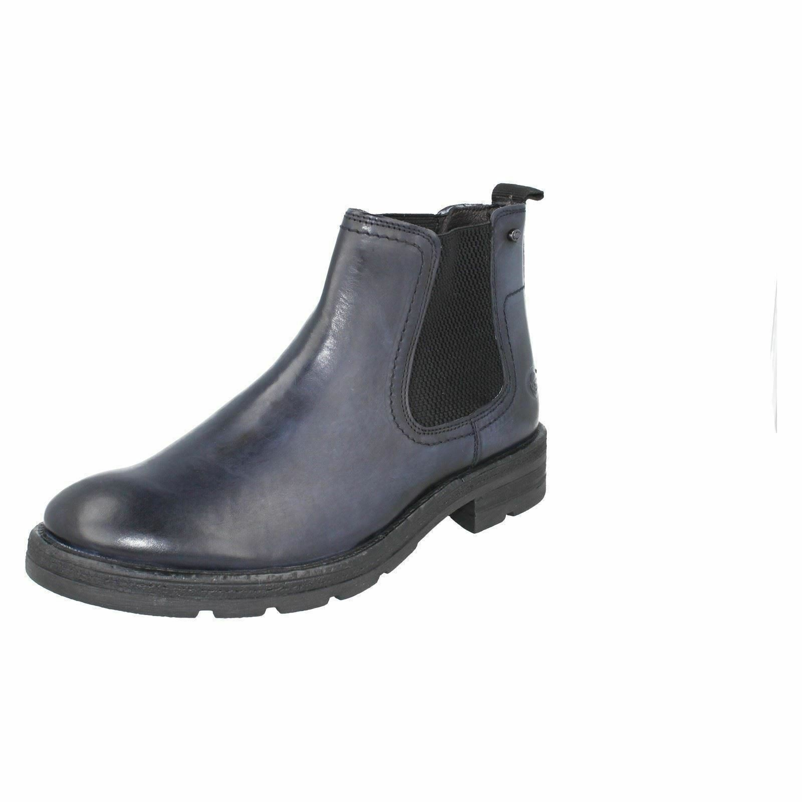 Base London 'Challenger' Mens Navy Pull On Chelsea Boots