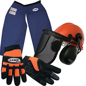Chainsaw-Safety-Chaps-Hard-Hat-w-Screen-Muffs-amp-Gloves-Lrg-Made-with-Kevlar
