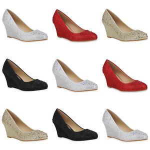 Details zu Damen Pumps Keilpumps Glitzer Keilabsatz Schuhe Strass Party Heels 899160 Mode