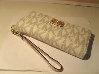 NEW Michael Kors Vanilla PVC MK Gold Jet Set Zip Around Travel Wallet Wristlet