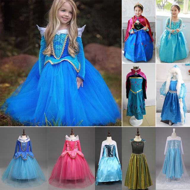 New Frozen Girl's Elsa & Anna Costume Cosplay Principessa Toddler Abiti da festa