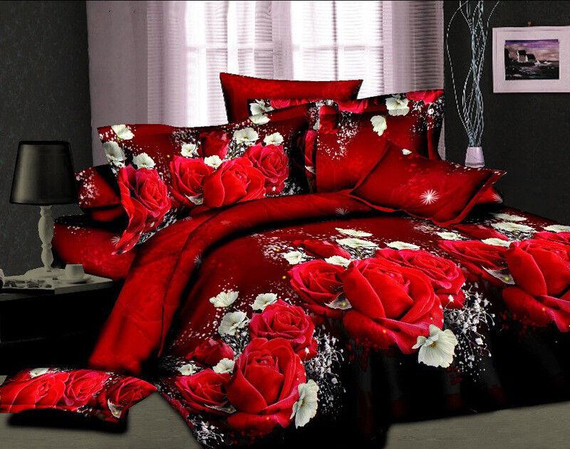 Luxury 3D Paint Duvet Cover Sheet Pillowcases 4pcs Bedding Set King Red pink A1