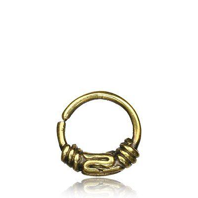"ORNATE 16G BRASS HANGING SEPTUM 9MM RING DIAMETER NOSE BALI TRIBAL 3//4/"" LONG"