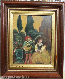 Ancienne-huile-sur-toile-marouflee-scene-romantique-non-signe-peinture-tableau