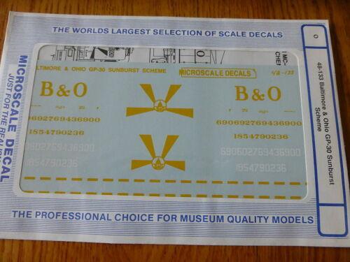 Microscale O #48-133 Baltimore /& Ohio GP-30 Sunburst Scheme Decal Sheet