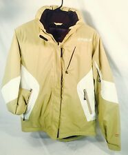 Spyder Ski Coat Jacket Dermizax Insulated Hood Snow Board Tan White Women's 10