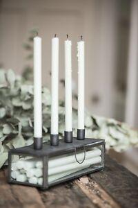 Adventsleuchter-Glas-f-4-Kerzen-Kerzenstaender-Metall-Glas-schwarz-IB-Laursen
