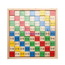 Wooden Math Dominoes Multiplication Table Bord Kid Math Teaching Educational Toy
