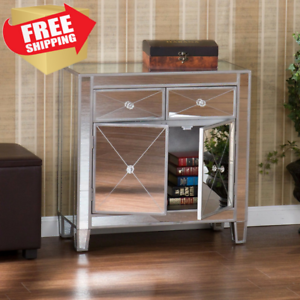 Drawer-Cabinet-Mirrored-Nightstand-Dresser-End-Side-Table-Storage-Silver-Accent