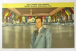 scarce HOLLYWOOD ROLLERBOWL Rollerskating Rink roller skating postcard UNUSED *