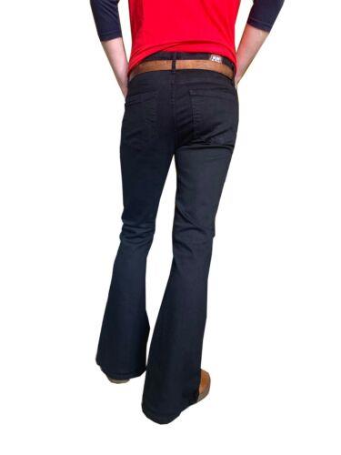 Herren Schwarz Dehnbar bell bottoms flares Hose Jeans Vtg 60s 70s indie mod