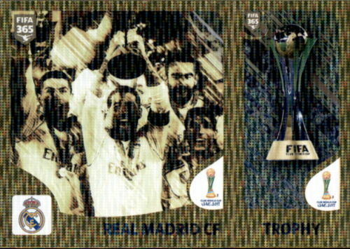 Panini FIFA365 2019 Real Madrid CF//Trophy-FIFA Club world cup Sticker 450 a//b