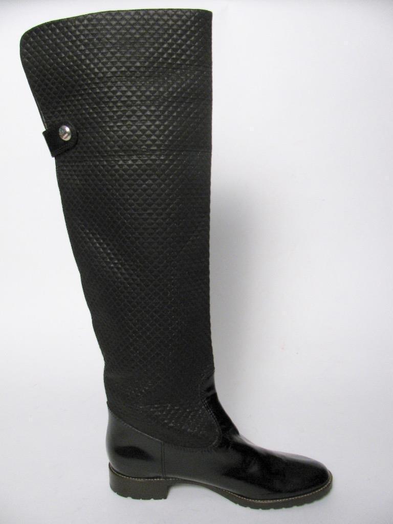 Giuseppe Zanotti Italia Tela de charol negro sobre la rodilla rodilla rodilla botas altas ecuestre  38  promociones