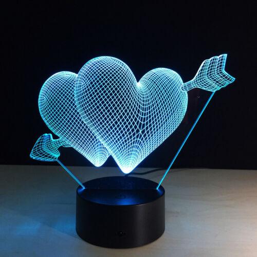 3D illusion Visual Night Light 7 Colors Change LED Desk Bedroom Lamp Home Decor