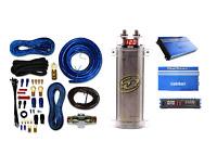 Sqcap2m Power Capacitor W/ 4 Gauge Amp Kit+ Re1.3000d 3000watts Car Amplifier