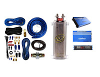 Sqcap2m Power Capacitor W/ 4 Gauge Amp Kit+ Re1.3000d 3000watts Car Amplifier