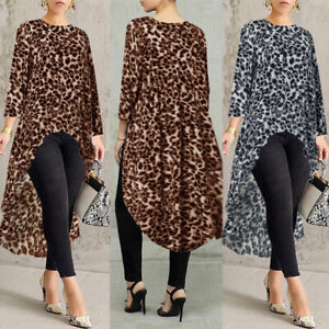 ZANZEA-8-24-Women-Leopard-Print-Blouse-Tee-T-Shirt-High-Low-Long-Flare-Tunic-Top