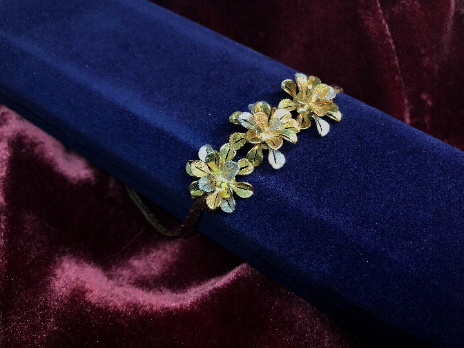 18K Yellow And White gold Flower Designer Bracelet