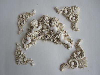 Pretty shabby chic angelots//quatre décoratif reagil//meubles//plaque moulures