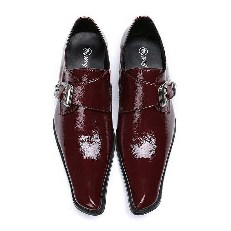 Men Fashion British Pointy Toe Buckle Strap Leather shoes Party Business shoes