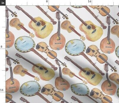 Banjo Bluegrass Guitar Violin Mandolin Music Fabric Printed by Spoonflower BTY
