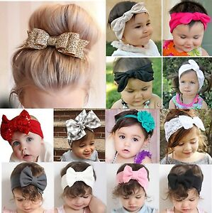 New-Baby-Toddler-Girl-Kid-Bow-Rabbit-Flower-Hair-Band-Turban-Headband-Xmas