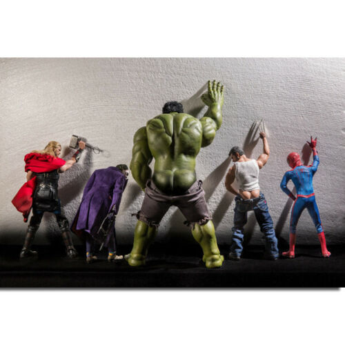 G109 Joker Spiderman Hulk Superheros Funny Art Poster