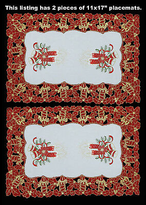 Christmas Embroidered Poinsettia Candle Placemat Table Cloth Runner RED 6631