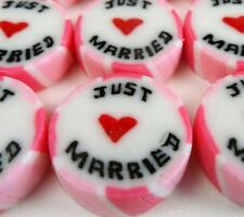 100 x Just Married Hot Pink and Ivory Wedding Rock Sweet Favours