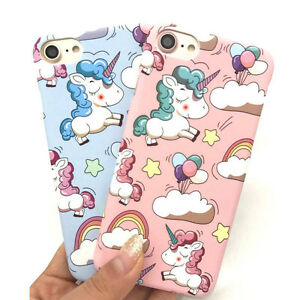 Cartoon-Unicorn-pc-plastica-rigida-opaca-custodia-cover-per-iPhone-6-6S-7-Plus