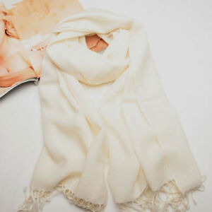 New Women's White 100% Cashmere Solid Winter Warm Long Scarf Shawl Wrap